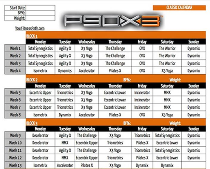 insanity workout calendar
